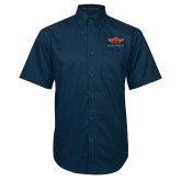 Navy Twill Button Down Short Sleeve-Solid Color Mark