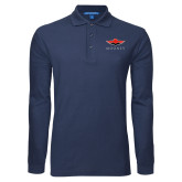 Navy Long Sleeve Polo-Solid Color Mark