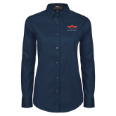 Ladies Navy Twill Button Down Long Sleeve-Solid Color Mark