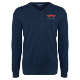 Classic Mens V Neck Navy Sweater-Solid Color Mark