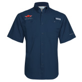 Columbia Tamiami Performance Navy Short Sleeve Shirt-Solid Color Mark