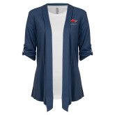 Ladies Navy Drape Front Cardigan-Solid Color Mark