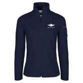 Columbia Ladies Full Zip Navy Fleece Jacket-Solid Color Mark