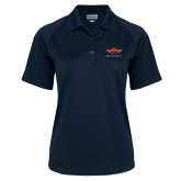 Ladies Navy Textured Saddle Shoulder Polo-Solid Color Mark