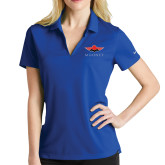 Ladies Nike Golf Dri Fit Royal Micro Pique Polo-Solid Color Mark
