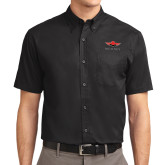 Black Twill Button Down Short Sleeve-Solid Color Mark