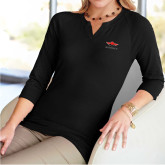 Ladies V Notch Black 3/4 Sleeve Shirt-Solid Color Mark