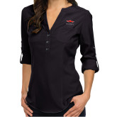 Ladies Glam Black 3/4 Sleeve Blouse-Solid Color Mark