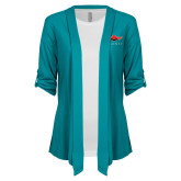 Ladies Teal Drape Front Cardigan-Solid Color Mark