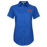 Ladies Royal Twill Button Up Short Sleeve-Solid Color Mark