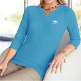 Ladies V Notch Light Blue 3/4 Sleeve Shirt-Solid Color Mark