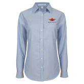 Ladies Light Blue Oxford Shirt-Solid Color Mark