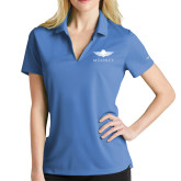 Ladies Nike Golf Dri Fit Light Blue Micro Pique Polo-Solid Color Mark