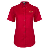 Ladies Red Twill Button Up Short Sleeve-Solid Color Mark