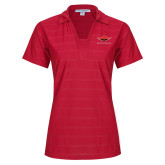 Ladies Red Horizontal Textured Polo-Solid Color Mark