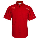 Columbia Tamiami Performance Red Short Sleeve Shirt-Solid Color Mark