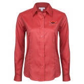 Ladies Red House Red Long Sleeve Shirt-Solid Color Mark