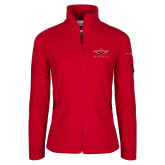 Columbia Ladies Full Zip Red Fleece Jacket-Solid Color Mark
