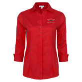 Ladies Red House Red 3/4 Sleeve Shirt-Solid Color Mark