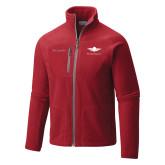 Columbia Full Zip Red Fleece Jacket-Solid Color Mark
