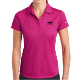 Ladies Nike Dri Fit Fuchsia Crosshatch Polo-Solid Color Mark