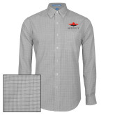 Mens Charcoal Plaid Pattern Long Sleeve Shirt-Solid Color Mark