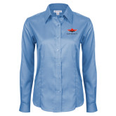 Ladies Red House Light Blue Long Sleeve Shirt-Solid Color Mark