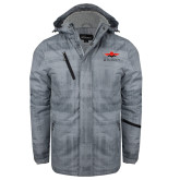 Grey Brushstroke Print Insulated Jacket-Solid Color Mark