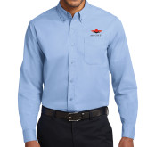Light Blue Twill Button Down Long Sleeve-Solid Color Mark