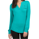 Ladies Lux Teal Split Neck Blouse-Primary Mark