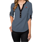 Ladies Posh Slate 3/4 Sleeve Blouse-Solid Color Mark