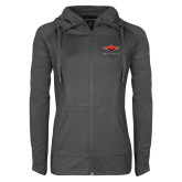 Ladies Sport Wick Stretch Full Zip Charcoal Jacket-Solid Color Mark