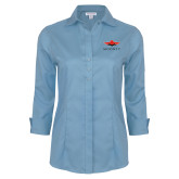 Ladies Red House Light Blue 3/4 Sleeve Shirt-Solid Color Mark