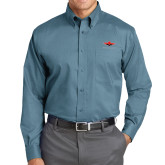 Red House Teal Long Sleeve Shirt-Solid Color Mark