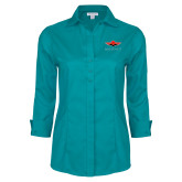 Ladies Red House Teal 3/4 Sleeve Shirt-Solid Color Mark