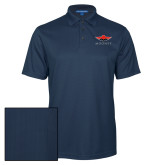 Navy Performance Fine Jacquard Polo-Solid Color Mark