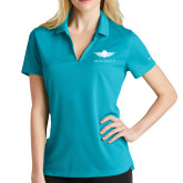 Ladies Nike Golf Dri Fit Teal Micro Pique Polo-Solid Color Mark