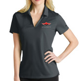 Ladies Nike Golf Dri Fit Charcoal Micro Pique Polo-Solid Color Mark
