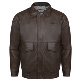 Brown Leather Bomber Jacket-Primary Mark