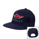 Navy Flat Bill Snapback Hat-Solid Color Mark