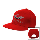 Red Flat Bill Snapback Hat-Solid Color Mark