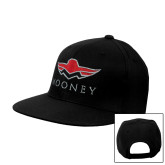 Black Flat Bill Snapback Hat-Solid Color Mark
