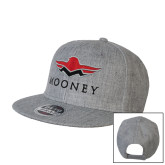 Heather Grey Wool Blend Flat Bill Snapback Hat-Solid Color Mark