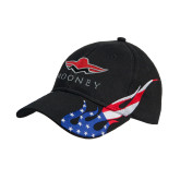 Black US Flag Flame Cotton Twill Structured Hat-Solid Color Mark