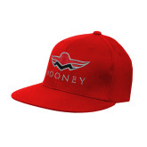 Red OttoFlex Flat Bill Pro Style Hat-Solid Color Mark