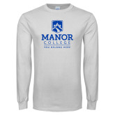 White Long Sleeve T Shirt-Manor College Logo