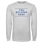 White Long Sleeve T Shirt-Manor Slogan
