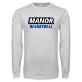 White Long Sleeve T Shirt-Manor Basketball
