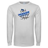 White Long Sleeve T Shirt-Basketball Design