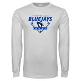 White Long Sleeve T Shirt-Baseball Design